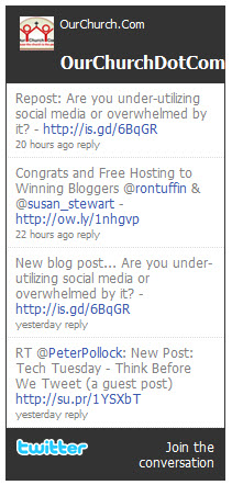 Screenshot of the Twitter Widget Module.