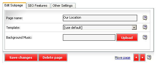 Screenshot of the Page Settings box.