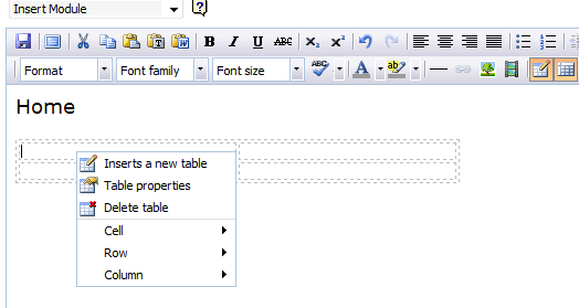 Screenshot of the right-click table menu.