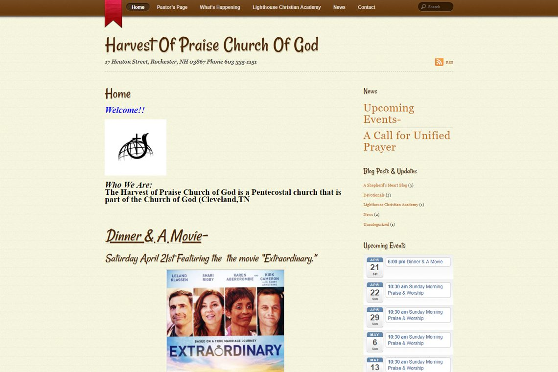 Harvest of Praise Church of God in Rochester, HN