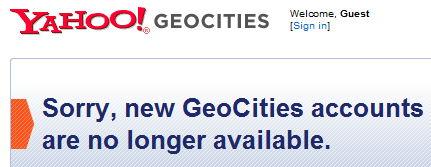 geocities shutting down