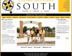 Lutheran High School South website screenshot
