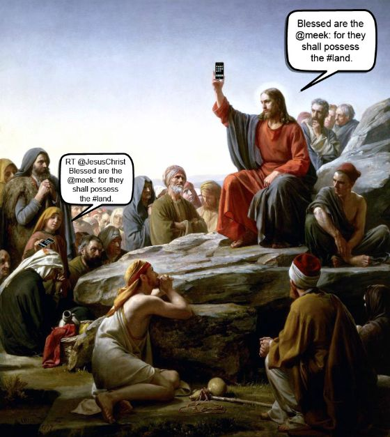 jesus tweeting twitter iphone