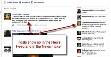 facebook newsfeed and ticker