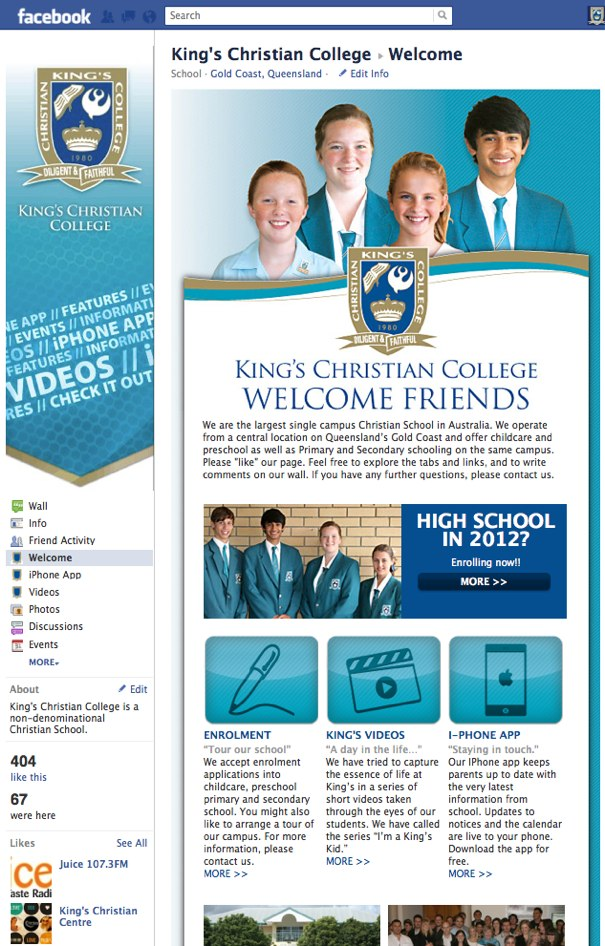 King's Christian College Facebook Page