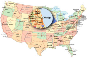 USA Map Chicago Focus   Church Websites, Church Website Design