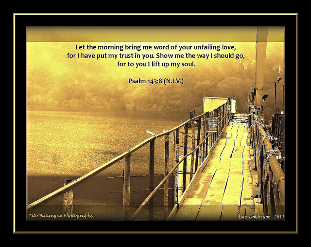 Psalm 143:8 Let the morning bring me word of your unfailing love