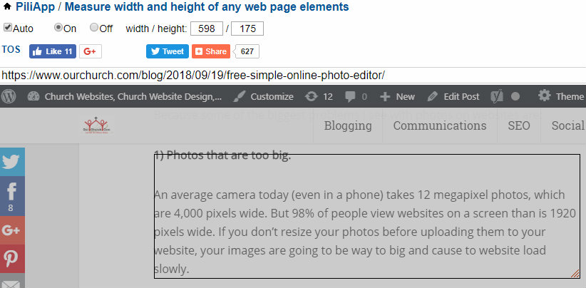 PiliApp-measure-web-page-elements