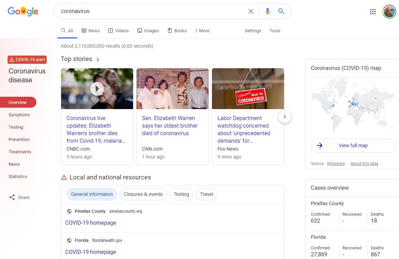 Google COVID-19 Search Results