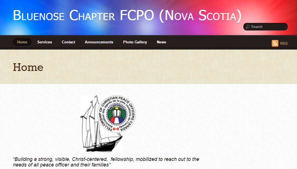 WP-EZ Feature Site - Fellowship of Christian Peace Officers, Bluenose, Nova Scotia