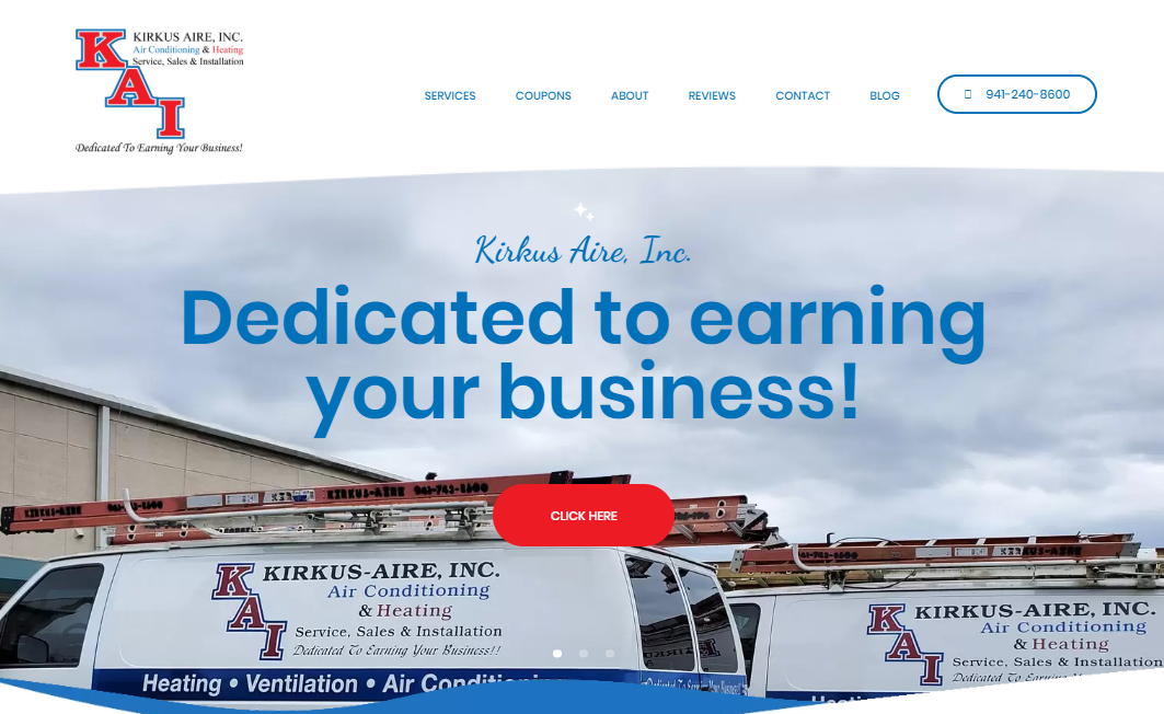 Kirkus Aire website design