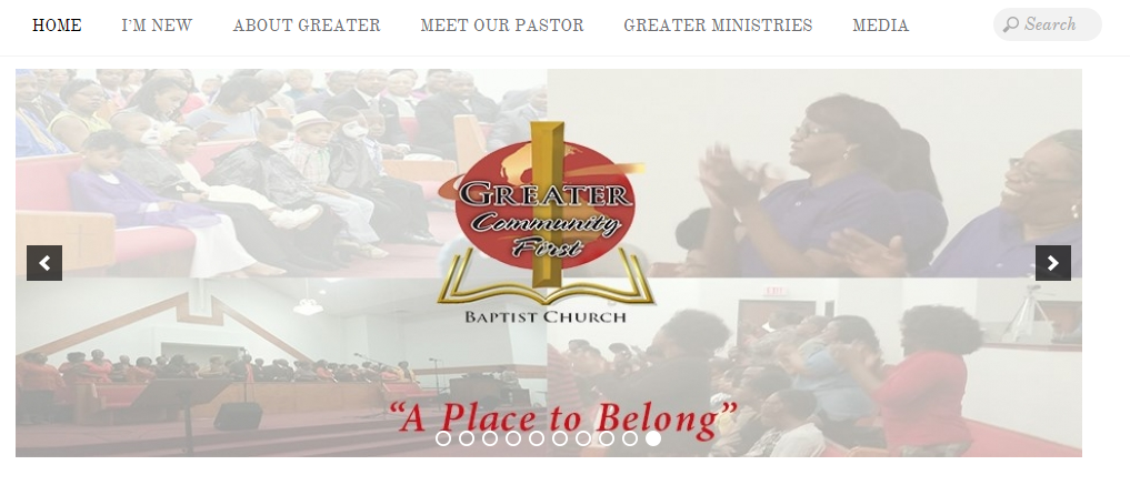 Featured WP-EZ church website - Greater Community First Baptist Church in Dallas, TX